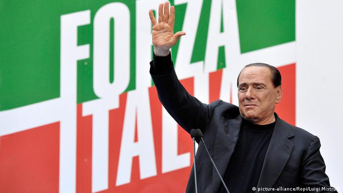 Berlusconi in front of a Forza Italia poster