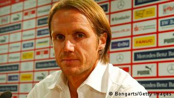 STUTTGART, GERMANY - AUGUST 26: Thomas Schneider, new head coach of VfB Stuttgart attends the VfB Stuttgart press conference at Mercedes-Benz Arena on August 26, 2013 in Stuttgart, Germany. (Photo by Thomas Niedermueller/Bongarts/Getty Images)