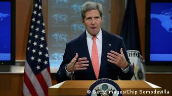 WASHINGTON, DC - AUGUST 26: U.S. Secretary of State John Kerry delivers a statement about the use of chemical weapons in Syria at the Department of State August 26, 2013 in Washington, DC. Kerry said that chemical weapons had been used to kill scores of people during the ongoing civil war in Syria and that the government of President Bashar al-Assad had used shelling to destroy the evidence. (Photo by Chip Somodevilla/Getty Images)
