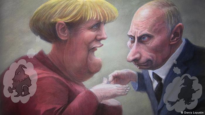 Меркель и Путин с недовольными лицами
