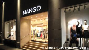 Windows and entrance to one of the largest stores in Madrid of the chain of Spanish fashion clothing Mango,Orense street of Madrid, Spain. (Photo by Cristina Arias/Cover/Getty Images)
