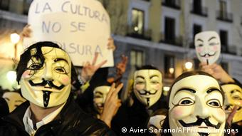 Spanien Indignados Anonymous Masken Protest Demonstration