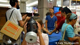 Gas masks are distributed at a central Jerusalem shopping mall. (Photo: Kate Shuttleworth)