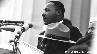Martin Luther King during his 'I Have a Dream' speech on the steps of the Lincoln Memorial in 1963.