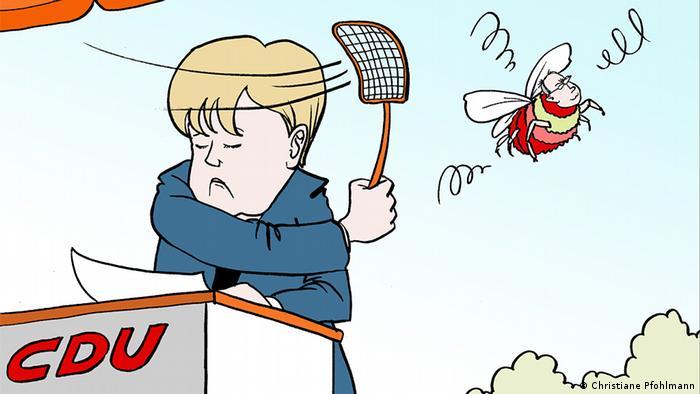 Меркель отгоняет мухобойкой Штайнбрюка в виде осы
