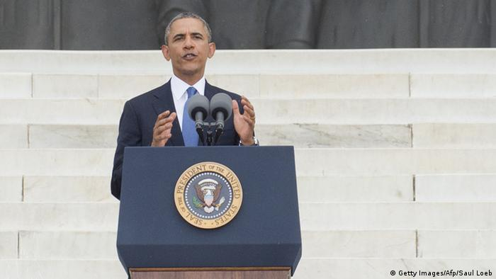 US President Barack Obama speaks on the 50th anniversary of Martin Luther Kings march on Washington. PHOTO: AFP/Saul Loeb/Getty