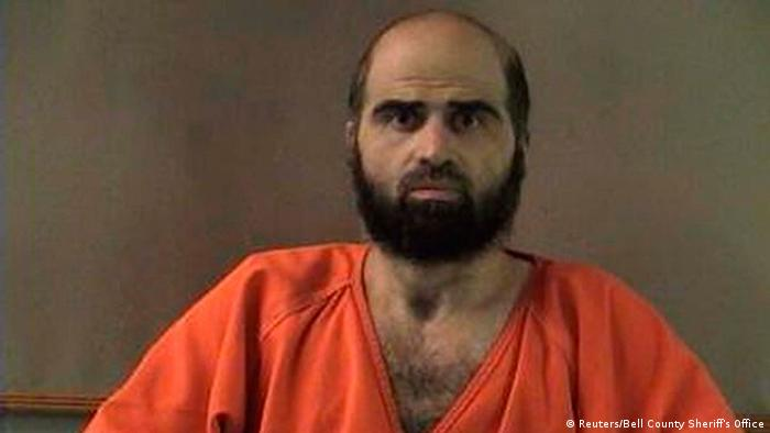 Nidal Hasan, charged with killing 13 people and wounding 31 in a November 2009 shooting spree at Fort Hood, Texas, is pictured in an undated Bell County Sheriff's Office photograph. Hasan rested his defense case in his court-martial August 21, 2013 without calling any witnesses to testify. REUTERS/Bell County Sheriff's Office/Handout (UNITED STATES - Tags: CRIME LAW MILITARY) FOR EDITORIAL USE ONLY. NOT FOR SALE FOR MARKETING OR ADVERTISING CAMPAIGNS. THIS IMAGE HAS BEEN SUPPLIED BY A THIRD PARTY. IT IS DISTRIBUTED, EXACTLY AS RECEIVED BY REUTERS, AS A SERVICE TO CLIENTS