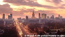 Panoramic view of Warsaw at sunset on November 26, 2009. Poland and Ukraine co-host the Euro 2012 football championships. AFP PHOTO / WOJTEK RADWANSKI (Photo credit should read WOJTEK RADWANSKI/AFP/Getty Images)