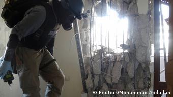 Mkaguzi wa silaha za sumu wa Umoja Mataifa katika vitongoji vya Damascus.