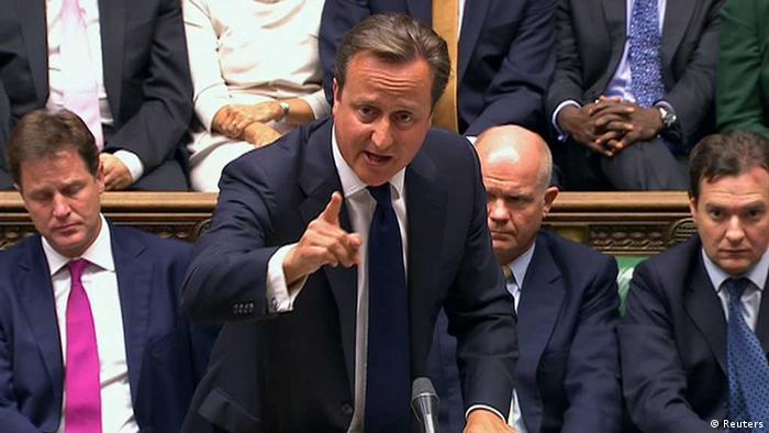 Britain's Prime Minister David Cameron is seen addressing the House of Commons in this still image taken from video in London August 29, 2013. REUTERS/UK Parliament via Reuters TV (Foto: Reuters) / Eingestellt von wa