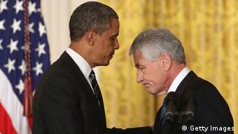 Presidente estadounidense, Barack Obama, y su secretario de Defensa, Chuck Hagel.