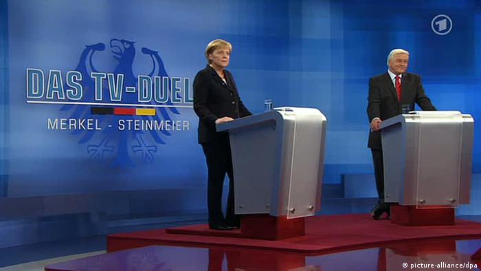 TV-Duell Angela Merkel & Frank-Walter Steinmeier 2009 (picture-alliance/dpa)
