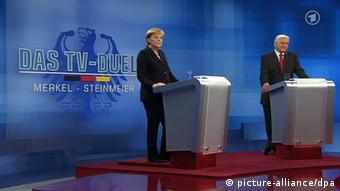 Das TV-Duell zwischen Angela Merkel und Frank-Walter Steinmeier 2009 (Foto: dpa)