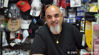 Katzrin sports shop owner Klod Ben Yehuda, 53, believes he is safe Copyright: Kate Shuttleworth, DW, Golan Heights, August 2013