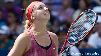 Sabine Lisicki of Germany reacts as she plays Ekaterina Makarova of Russia during their match on the fifth day of the 2013 US Open Tennis Championship at the USTA National Tennis Center in Flushing Meadows, New York, USA, 30 August 2013. (Photo via EPA/JOHN G. MABANGLO)