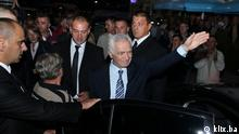 Empfang Momcilo Krajisnik Srpska Kriegsverbrecher Verurteilt Sarajevo Rückkehr Bosnien Serbien