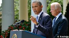 U.S. President Barack Obama speaks next to Vice President Joe Biden (R) at the Rose Garden of the White House August 31, 2013, in Washington. Obama said on Saturday he had decided the United States should strike Syrian government targets in response to a deadly chemical weapons attack, but said he would seek a congressional vote for any military action. REUTERS/Mike Theiler (UNITED STATES - Tags: POLITICS)
