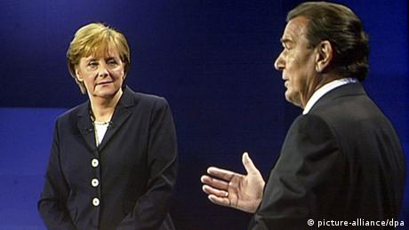 Angela Merkel and Gerhard Schröder during a TV debate in 2005