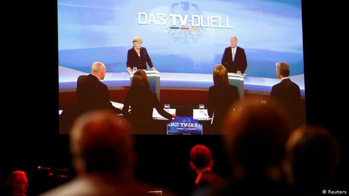 TV-Duell Kanzlerin Angela Merkel gegen Spitzenkandidat Peer Steinbrück (Foto: rtr)