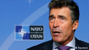 NATO Secretary General Anders Fogh Rasmussen at a press conference REUTERS/Francois Lenoir