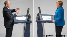 Bundestagsdebatte Kombobild Merkel und Steinbrück 03.09.2013