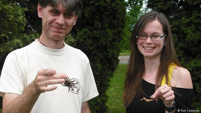 Professor Stano Pekar (left), head of the Arachnology section, Department of Botany and Zoology, and Lenka Sentenska, PhD student (right), Masaryk University in Brno (Photo: Rob Cameron)