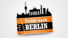 Logo von Ticket nach Berlin, ein Ticket mit der Silhouette von Berlin