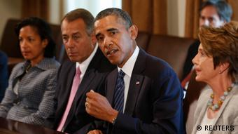 U.S. President Barack Obama (2nd R) talks to bipartisan Congressional leaders in the Cabinet Room at the White House in Washington while discussing a military response to Syria, September 3, 2013. From L-R are: National Security Adviser Susan Rice, Speaker of the House John Boehner, Obama, and House Minority Leader Nancy Pelosi. (Photo: REUTERS/Larry Downing