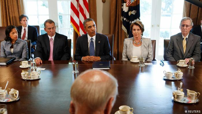 U.S. President Barack Obama meets with bipartisan Congressional leaders in the Cabinet Room at the White House in Washington to discuss a military response to Syria, September 3, 2013. From L-R are: National Security Adviser Susan Rice, Speaker of the House John Boehner, Obama, House Minority Leader Nancy Pelosi and Senate Minority Leader Sen. Mitch McConnell. Vice President Joseph Biden is in the foreground. REUTERS/Larry Downing (UNITED STATES - Tags: POLITICS)