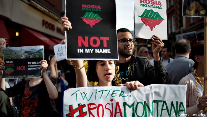 Rumänische Umweltschützer Proteste in London