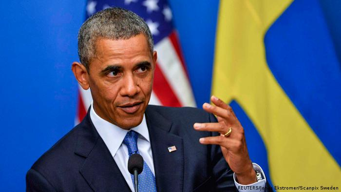US President Barack Obama speaks during his news conference with Swedish Prime Minister Fredrik Reinfeldt (photo via Reuters)