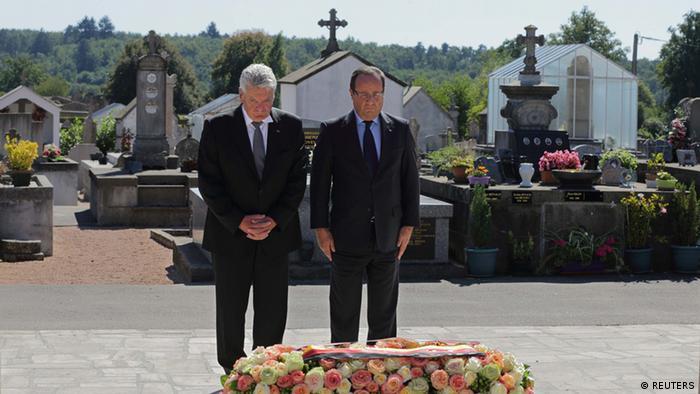 Gauck und Hollande in Oradour-sur-Glane 04.09.2013