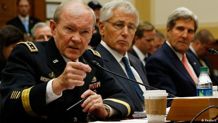 (L-R) U.S. General Martin Dempsey, chairman of the Joint Chiefs of Staff, U.S. Secretary of Defense Chuck Hagel and U.S. Secretary of State John Kerry testify at a U.S. House Foreign Affairs Committee hearing on Syria on Capitol Hill in Washington, September 4, 2013. The U.S. Senate Foreign Relations Committee struggled on Wednesday to reach agreement on a resolution authorizing military strikes in Syria, but scheduled a vote for later in the day as Obama administration officials pressed for action in Congress. REUTERS/Jason Reed (UNITED STATES - Tags: POLITICS)