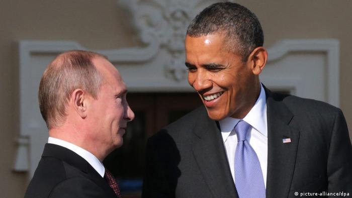 Der russische Staatschef Putin und US-Präsident Obama begrüßen sich zum Auftakt des G20-Gipfels