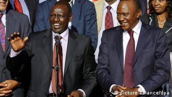 epa03852461 (FILE) A file photograph dated 09 March 2013 shows then Kenya's newly elected President Uhuru Kenyatta (R) and Deputy President William Ruto (L) in Nairobi, Kenya. Kenya's National Assembly on 05 September passed a motion paving the way for the country to withdraw from the legal structures of the International Criminal Court (ICC). The move comes as Deputy President William Ruto is to face trial Tuesday in The Hague for crimes against humanity, allegedly committed during a wave of ethnic violence following disputed 2007 elections. President Uhuru Kenyatta is to face trial separately, also for alleged involvement in the violence, which left more than 1,000 people dead and displaced half a million. The ICC said that it would go ahead with trials anyway despite the country's pullout. EPA/DANIEL IRUNGU