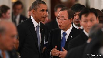 U.S. President Barack Obama (L) and U.N. Secretary-General Ban Ki-moon attend the working dinner after the session of the G20 Summit in Strelna near St. Petersburg, September 5, 2013. REUTERS/Ramil Sitdikov/RIA Novosti/Pool (RUSSIA - Tags: POLITICS BUSINESS) ATTENTION EDITORS - THIS IMAGE HAS BEEN SUPPLIED BY A THIRD PARTY. IT IS DISTRIBUTED, EXACTLY AS RECEIVED BY REUTERS, AS A SERVICE TO CLIENTS