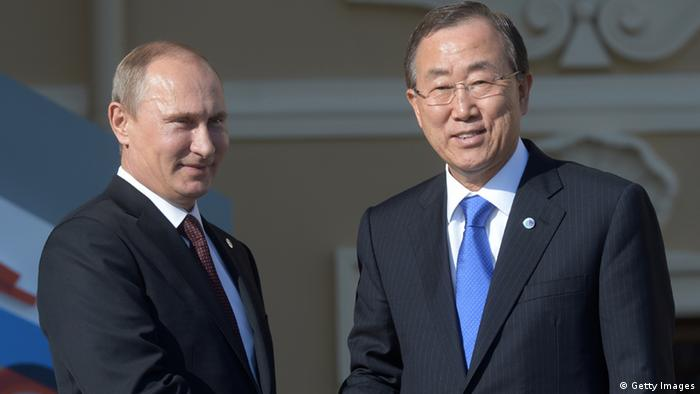 SAINT PETERSBURG - SEPTEMBER 05: In this handout image provided by Host Photo Agency, Russian President Vladimir Putin (L) and Secretary-General of the United Nations Ban Ki-moon shake hands during an official welcome of G20 heads of state and government, heads of invited states and international organizations at the G20 summit on September 5, 2013 in St. Petersburg, Russia. The G20 summit is expected to be dominated by the issue of military action in Syria while issues surrounding the global economy, including tax avoidance by multinationals, will also be discussed during the two-day summit. (Photo by Guneev Sergey/Host Photo Agency via Getty Images)