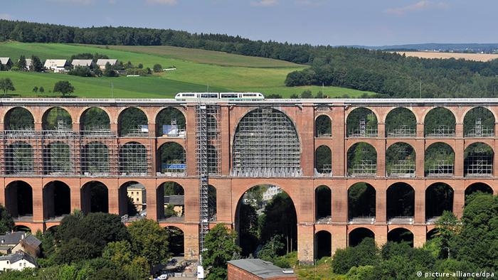 The many archways of the brick-built Göltzch Viaduct in Saxony