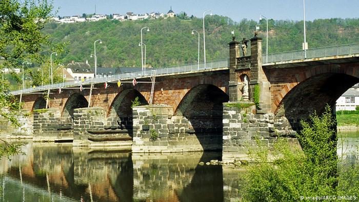 A view of the Römerbrücke over the Moselle River in Trier.