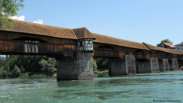 The wooden roofed Holzbrücke in Bad Säckingen