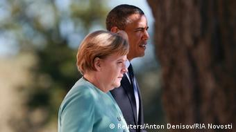 German Chancellor Angela Merkel (L) and U.S. President Barack Obama walk together during the family picture event during the G20 summit in St.Petersburg September 6, 2013. (Photo: REUTERS/Anton Denisov/RIA Novosti/Pool)