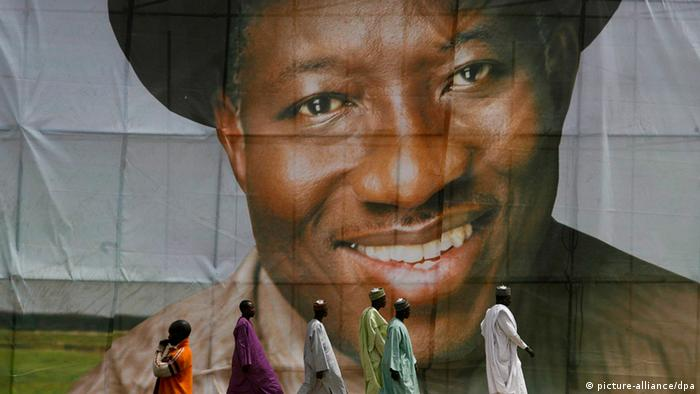 2011 Election poster showing President Goodluck Jonathan. EPA/GEORGE ESIRI