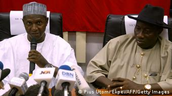 Late presidential Umar Yar'Adua gives a press conference with his Vice-President Goodluck Jonathan in 2007. (Photo: PIUS UTOMI EKPEI/AFP/Getty Images)