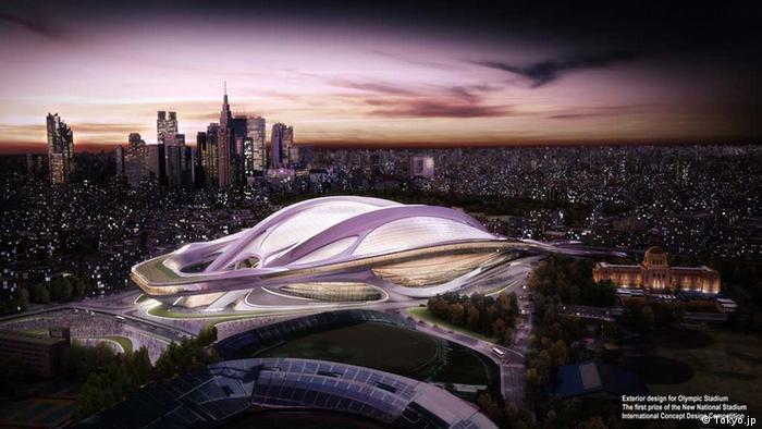 Computer-Modell des neuen Olympiastadions von Tokio mit Architekt Tadao Ando (Grafik: tokyo2020.jp)