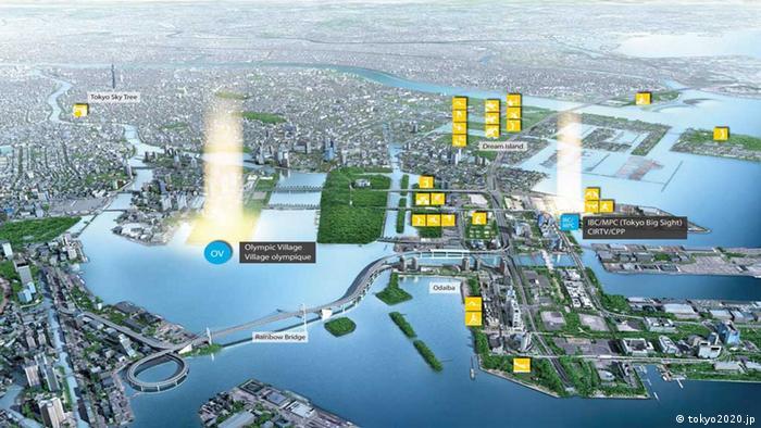 Plan des Olympiageländes in Tokio (eingestellt von nis/Joscha Weber)