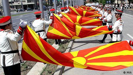 Mazedonien Mazedonier Menschen Skopje Mazedonische Garde Madezonische Flagge (MIA)
