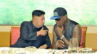 North Korean leader Kim Jong-un (L) meets with former NBA star Dennis Rodman in Pyongyang, North Korea, on 07 September 2013, according to the regime's official Korean Central News Agency. The news wire said that they watched a friendly basketball game and had dinner together. The photo is released by the Rodong Sinmun, an organ of the ruling Workers' Party of Korea. (Photo: EPA/Rodong Sinmun)