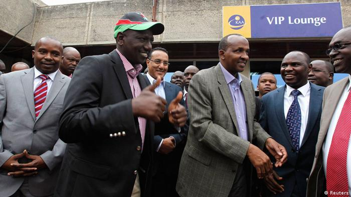 Kenya's Deputy President William Ruto leaves Jomo Kenyatta airport in Nairobi, on his way to the International Criminal Court at The Hague. (REUTERS/Thomas Mukoya) )