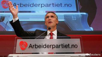 Norway's Prime Minister Jens Stoltenberg, who is the leader of the Labour Party, speaks to party members while waiting for the results of the general elections in Oslo September 9, 2013. REUTERS/Cornelius Poppe/NTB Scanpix (NORWAY - Tags: POLITICS ELECTIONS) ATTENTION EDITORS - THIS IMAGE HAS BEEN SUPPLIED BY A THIRD PARTY. IT IS DISTRIBUTED, EXACTLY AS RECEIVED BY REUTERS, AS A SERVICE TO CLIENTS. NORWAY OUT. NO COMMERCIAL OR EDITORIAL SALES IN NORWAY. NO COMMERCIAL SALES