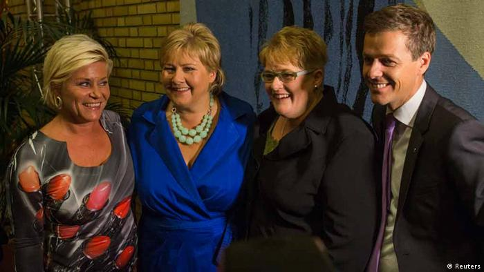 Norway's opposition leaders (L-R) Siv Jensen of the Fremskrittspartiet (Progress party), Erna Solberg of the Hoyre (Conservative party), Trine Skei Grande of the Venstre (Liberal party) and Knut Arild Hareide of the Kristelig Folkeparti (Christian Democratic party) gather inside the Parliament building in Oslo, after the general elections, September 9, 2013. Norway's opposition Conservatives, promising tax cuts and better healthcare, won elections in a landslide on Monday but faced tough coalition talks with a populist party that wants to spend more of the accumulated oil riches and curb immigration. REUTERS/Fredrik Varfjell/NTB Scanpix (NORWAY - Tags: POLITICS ELECTIONS) ATTENTION EDITORS - THIS IMAGE HAS BEEN SUPPLIED BY A THIRD PARTY. IT IS DISTRIBUTED, EXACTLY AS RECEIVED BY REUTERS, AS A SERVICE TO CLIENTS. NORWAY OUT. NO COMMERCIAL OR EDITORIAL SALES IN NORWAY. NO COMMERCIAL USE
